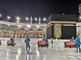 بیت اللہ کو دن میں دس بار جراثیم کش محلول سے دھویا جاتا، فوٹو : سعودی میڈیا
