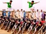 ٹھٹھہ کا نوجوان 11 موٹرسائیکلوں کے اوپر سے چھلانگ لگاتے ہوئے (فوٹو : اسکرین گریب)