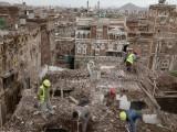 عمارتوں کی ازسر نو تعمیر اور تزئین و آرائش جنگی صورت حال کی وجہ سے معطل ہے، فوٹو : ای پی اے