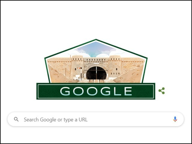 پاکستان کے 74 ویں یومِ آزادی پر گوگل ڈوڈل میں صوبہ بلوچستان کے تاریخی مقام کھوجک ٹنل کی تصویر چسپاں کردی گئی ہے۔ (فوٹو: گوگل)
