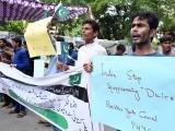 پاکستانی ہندو برادری کی جانب سے کشمیر میں بھارتی مظالم کے خلاف احتجاج کیا۔(فوٹو، آنلائن)