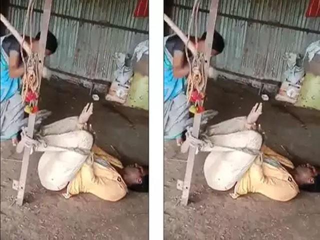شوہر رحم کی بھیک مانگتا رہا اور شراب نہ پینے کا وعدہ کرتا رہا، فوٹو : ویڈیو گریب