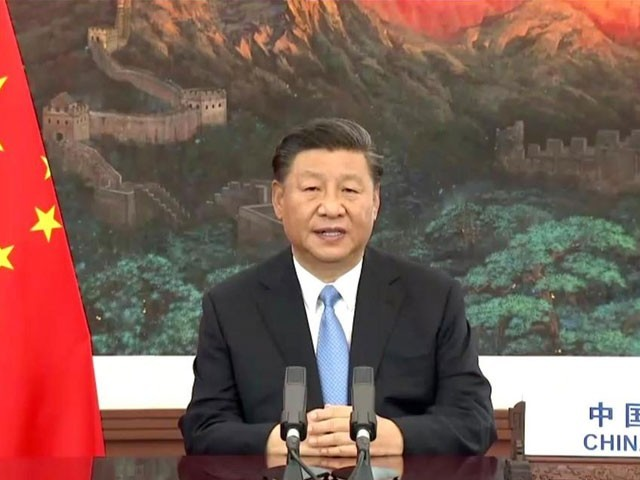 چینی صدر شی جن پنگ نے ویڈیو لنک کے ذریعے اقوام متحدہ کی جنرل اسمبلی سے خطاب کیا(فوٹو، انٹرنیٹ)
