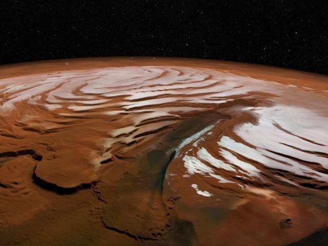 مریخ کے قطب جنوبی پر آبی برف کے علاوہ زیرِ سطح پانی کے بڑے ذخائر دریافت ہونے کا سلسلہ جاری ہے۔ (تصاویر: ای ایس اے)