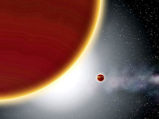 ماہرین نے پہلی مرتبہ زمین سے باہر کسی سیارے کی اصل تصاویر لی ہیں تاہم یہ اس کی فرضی تصویر ہے۔ فوٹو: ایسٹرونومی اینڈ ایسٹروفزکس جرنل