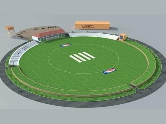 کرکٹ اسٹیڈیم کو 607 ملین کی لاگت سے تعمیر کیا جائے گا۔ فوٹو:ایکسپریس