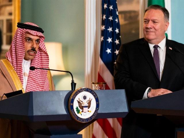یہ بات سعودی وزیر خارجہ نے واشنگٹن میں اپنے امریکی ہم منصب کیساتھ مشترکہ پریس کانفرنس میں کہی، فوٹو : الجزیرہ