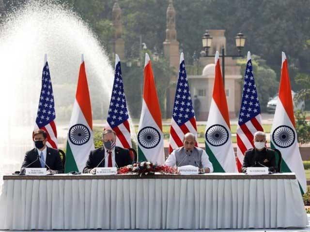 بھارت اور امریکہ کے وزرائے خارجہ اور دفاعی مابین معاہدوں پر دستخط کے دورے (فوٹو ، رویٹرز)