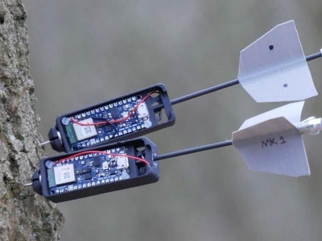 رواں ماہرین ڈارٹ ڈرون کی بدولت درختوں پر سینسر لگانے والا نظام بنا ہوا ہے۔  فوٹو: نیو اٹلس
