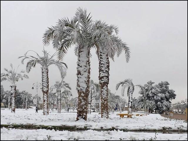 مشہور شہر حائل میں گرج چمک کے ساتھ شدید بارش اور برفباری ہوئی جسے دیکھ کر لوگ حیران رہ گئے۔ (فوٹو: انٹرنیٹ)