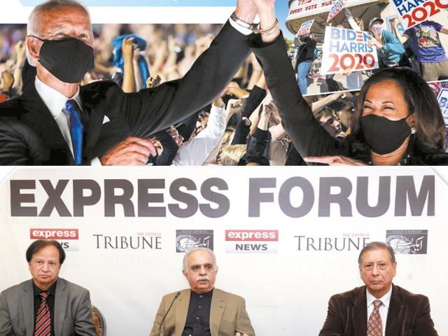 ''امریکی صدراتی انتخابات'' کے حوالے سے منعقدہ ''ایکسپریس فورم'' کی رپورٹ۔ فوٹو: ایکسپریس