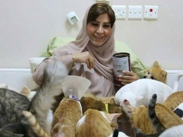 مسقط کی مریم البلوشی 500 بلیوں اور کتوں کے کفیل جن جن پرورش پر ہر ماہ 12 لاکھ مسافروں کی لاگت آئے گی۔  فوٹو: گلف نیوز