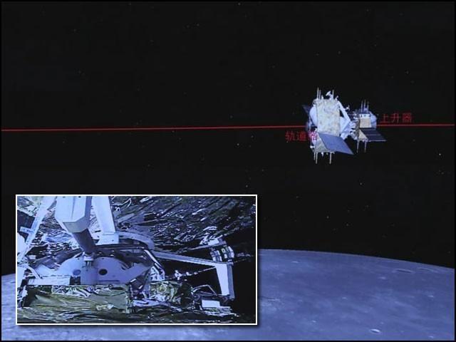 اس تصویر میں 'چانگ ای فائیوٹی' کا مدار دکھایا گیا ہے جو چھوٹی تصویر میں 'ایسینڈر' اور 'آربٹر' کے آپس میں جڑنے کا منظر ہے۔  (فوٹو: انٹرنیٹ)