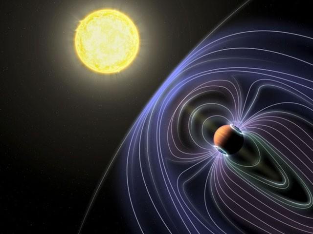 مصور کی تدبیر: یہ دستاویز ہے کہ ریڈیو سگنل ستارے کی شمسی ہوا ہے اور 'ٹاؤ بووتیس بی' کی مقناطیسی فیلڈ میں تصادم سے خارج ہورے ہیں۔  (فوٹو: اسپیس ڈاٹ کام)