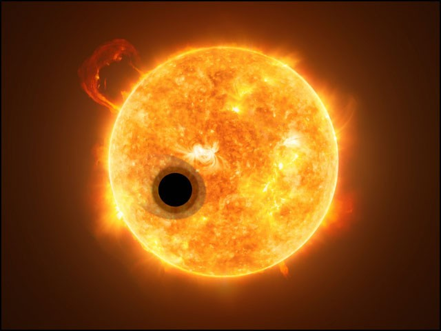 اپنے مرکزی ستارے کے گرد چکر لگاتا ہوا 'واسپکٹ 107 بی' سیارہ: مصور کا ٹیکیل (فوٹو: وکی پیڈیا)