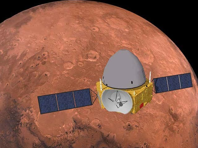 چین کا تیان وین ون نامی خلائی مداریہ اس وقت مریخ کے گرد چکر کاٹ رہا ہے اور اس خلائی گاڑی اپریل یا مئی میں مریچ سطح پر اٹھے گی۔  فوٹو: نیوسائنٹسٹ
