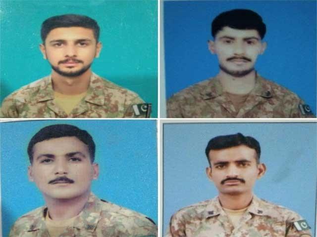 شہداء میں لانس نائیک عمران علی، سپاہی عاطف جہانگیر، سپاہی انیس الرحمان اورسپاہی عزیز شامل ہیں، آئی ایس پی آر