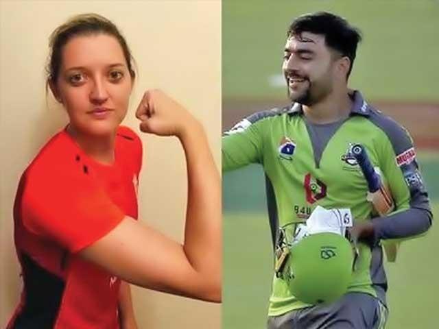 راشد خان نے سارہ ٹیلر کی جانب سے ویڈیو پر تبصرہ کے جواب میں لکھا کہ 'جی ضرور'۔ فوٹو: فائل