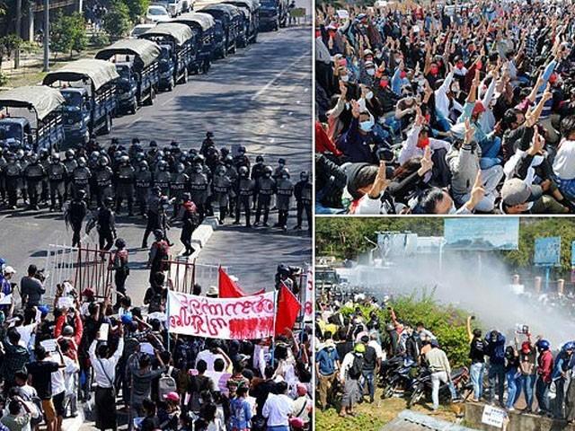 فوجی بغاوت کیخلاف ملک گیر مظاہرے جاری ہیں، فوٹو : فائل