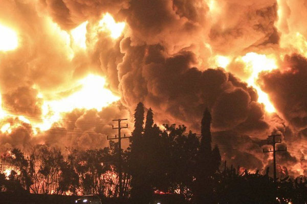 Oil refinery fire indonesia 2