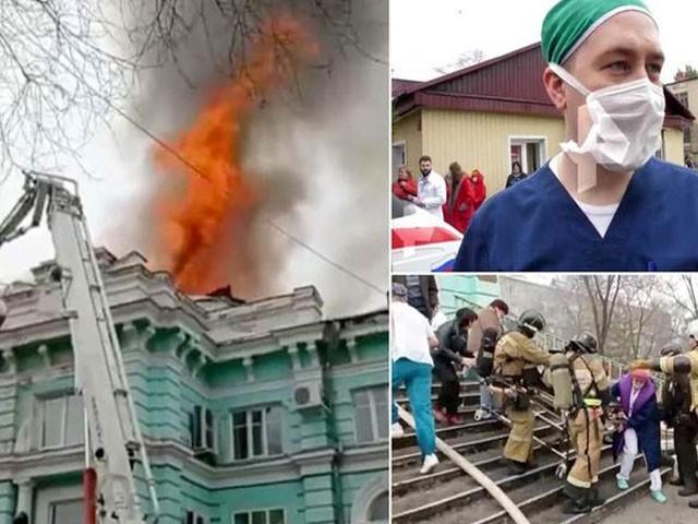 اسپتال سے 60 مریضوں کو نحفاظت نکالا گیا، فوٹو: ٹوئٹر