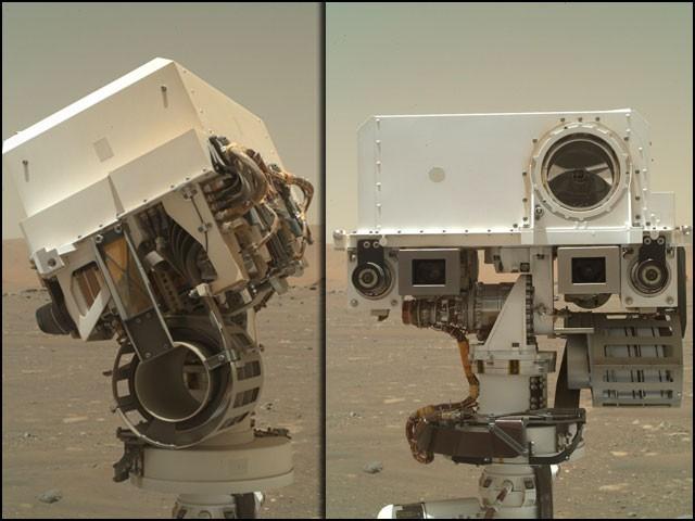 ان 'مریخی سیلفیوں' کے ذریعے زمین پر موجود سائنسدان اس روور کی عمومی کارکردگی یا کسی خرابی پر نظر رکھتے ہیں۔ (تصاویر: ناسا/ جے پی ایل)