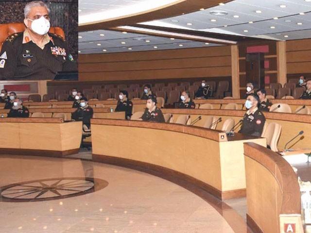 آرمی چیف کی زیر صدارت کورکمانڈرز کانفرنس میں اندرونی وبیرونی صورتحال کا جائزہ لیا گیا