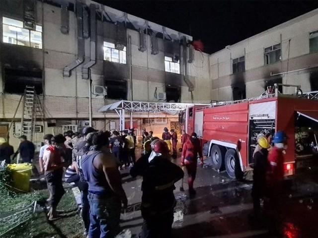 اسپتال میں آگ اکسیجن سلینڈر پھٹنے کے باعث لگی، عراقی شہری دفاع