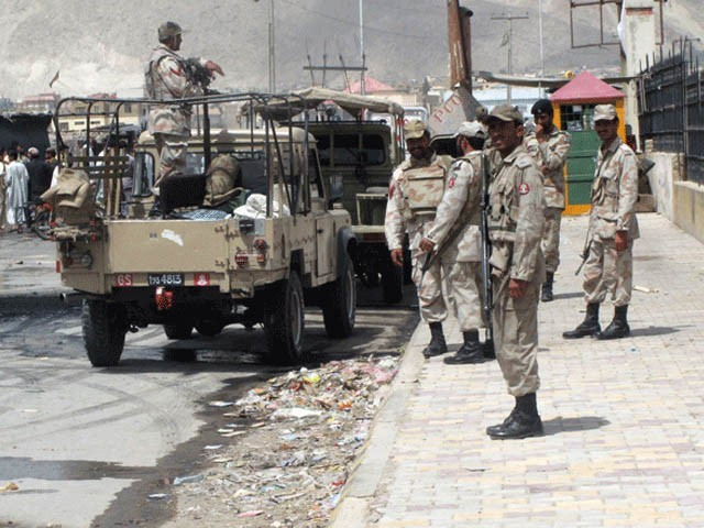 دہشت گروں نے مارگٹ کے علاقے میں سیکورٹی ڈیوٹی پر معمور ایف سی کے دستے پر حملہ کردیا۔(فوٹو:فائل)