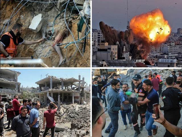 اسرائیل کی نہتے فلسطینیوں پر بمباری جاری، شہدا کی تعداد 122 ہوگئی