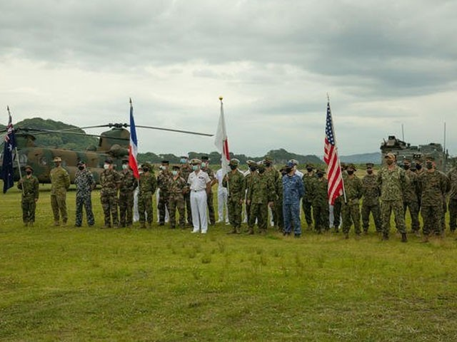 For the first time in Japan, joint military exercises with the United States and France are underway