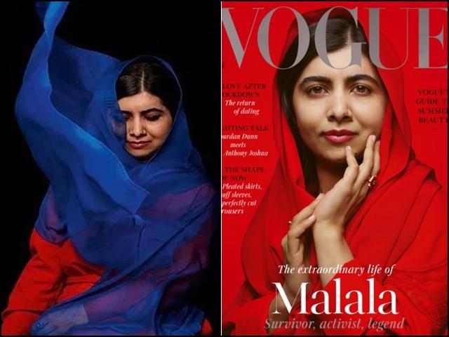 ووگ میگزین کے سرورق پر ملالہ کی دوپٹہ اوڑھے تصویر پختون روایات کی آئینہ دار ہے۔ (فوٹو: فائل)