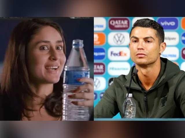 رونالڈو نے ایک پریس کانفرنس کے دوران کوکاکولا کی بوتلوں کو ہٹا کر ان کی جگہ پانی کی بوتل رکھ دی تھی فوٹوفائل