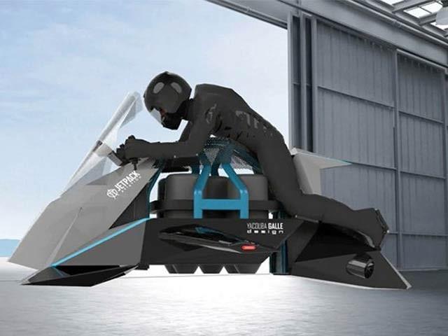 کلیفورنیا کی کمپنی نے دنیا کی پہلی اڑن موٹرسائیکل تیارکرلی ہے جو 150 میل فی گھنٹے سے پرواز کرسکتی ہے۔ فوٹو: جیٹ پیک ایوی ایشن