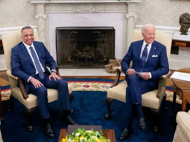 عراق کے وزیراعظم نے امریکی صدر سے اوول ہاؤس میں ملاقات کی، فوٹو: راٗئٹرز
