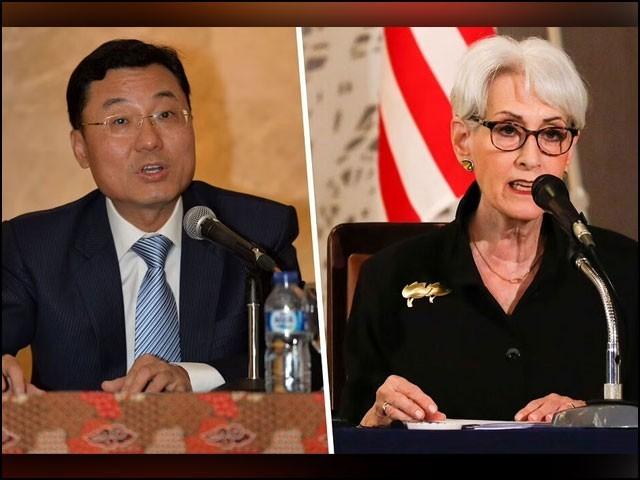چینی نائب وزیر خارجہ شے فنگ اور ان کی امریکی ہم منصب وینڈی شرمین میں مذاکرات جاری ہیں۔ (فوٹو: انٹرنیٹ)