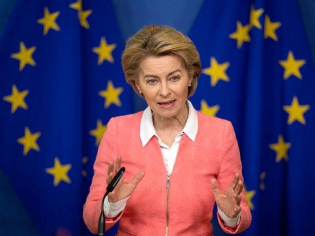 یورپی یونین کی سربراہ نے پریس کانفرنس میں مالی امداد کا اعلان کیا، فوٹو: فائل