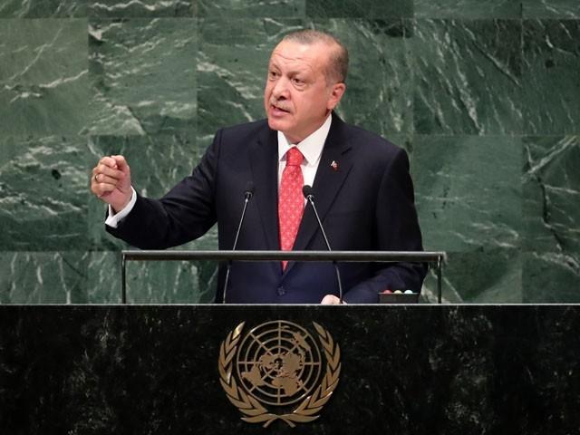 ترک صدر جنرل اسمبلی کے 76 ویں اجلاس سے خطاب کر رہے تھے، فوٹو: اے ایف پی