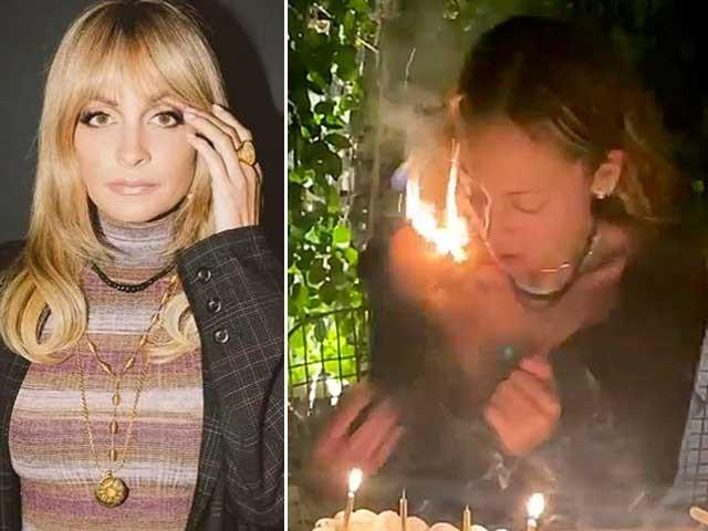 کیک پر لگی موم بتیاں بجھانے کے لیے جھکنے پر نیکول رچی کے گولڈن کرلی بالوں نے اچانک آگ پکڑلی - فوٹو:سوشل میڈیا