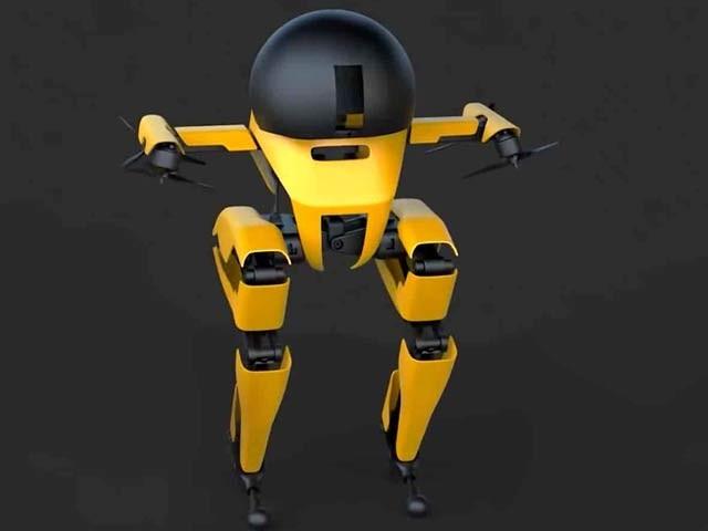 کیلیفورنیا انسٹی ٹیوٹ آف ٹیکنالوجی (کیلٹیک) نے دنیا کا پہلا اڑن روبوٹ بنایا ہے جو دو قدموں سے سیدھا بھی چل سکتا ہے۔ فوٹو: بشکریہ کیلٹیک