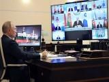 روسی صدر سابق سویت یونین ممالک کے سربراہ اجلاس سے خطاب کر رہے ہیں، فوٹو: اے ایف پی